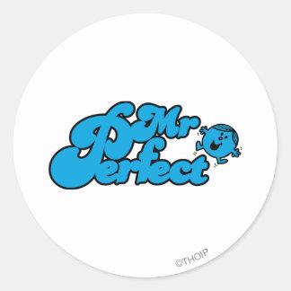 Grandes letras azuis do Sr. Perfeito   Adesivo