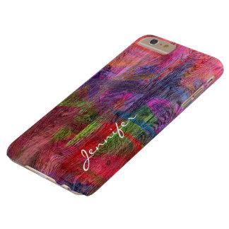 Grão de madeira #5 do vintage abstrato colorido capa barely there para iPhone 6 plus