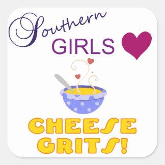 Grãos do sul do queijo do amor das meninas adesivos quadrados