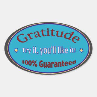 Gratitude 100% garantido adesivo oval