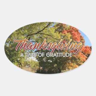Gratitude em etiquetas do Oval da acção de graças Adesivo Oval
