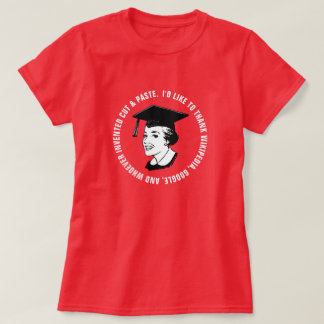 Gratitude engraçada do formando da fêmea (texto camiseta