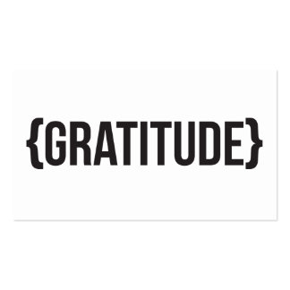 Gratitude - suportada - preto e branco cartão de visita