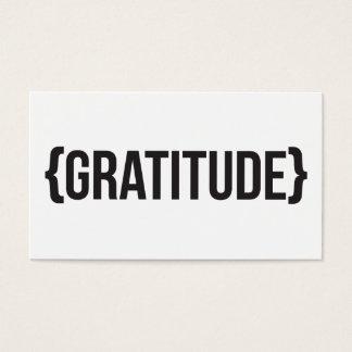 Gratitude - suportada - preto e branco cartão de visitas