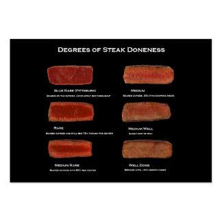 Graus de cozimento do bife (cartão da informação d cartão de visita grande