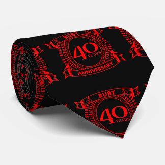 Gravata 40th crista do rubi do aniversário de casamento