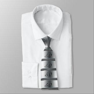 Gravata 50th Preto, prata e branco do laço do aniversário