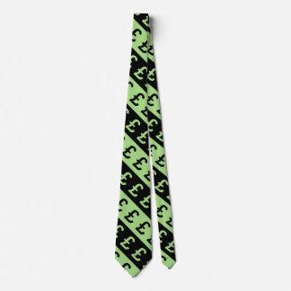 Gravata A libra preta & verde assina (£) teste padrão