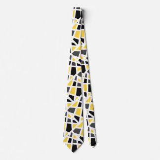 Gravata Abstrato cinzento amarelo do preto geométrico