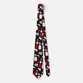 Gravata Abstrato preto cinzento vermelho do branco