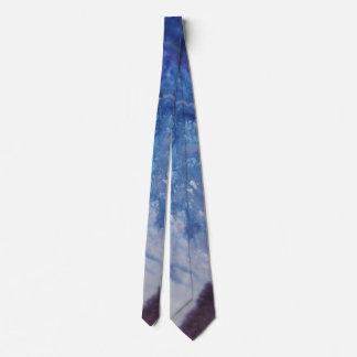 Gravata Água branca azul triste da onda da pintura do