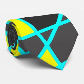 Gravata amarelo de néon brilhante geométrico elegante e