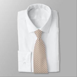 Gravata Amêndoa brindada com bolinhas brancas