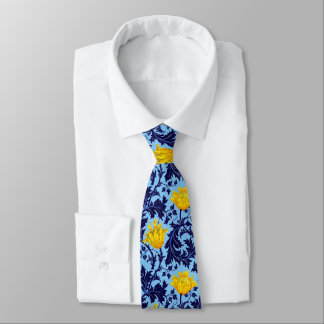 Gravata Anêmona de William Morris, marinho e amarelo da