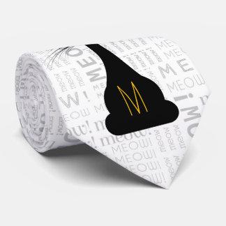 Gravata APAL: Gato preto Monogrammed