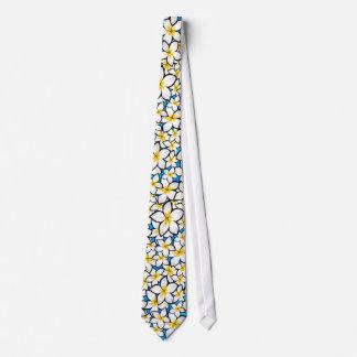 Gravata Arte amarela e branca brilhante do frangipani