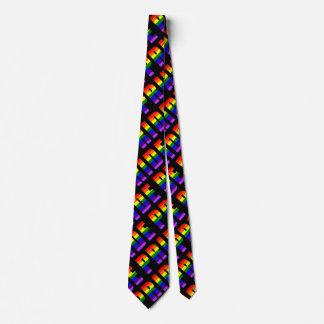 Gravata Arte do texto do orgulho do arco-íris na cor preta