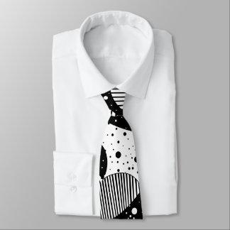 Gravata Arte geométrica abstrata moderna preto e branco