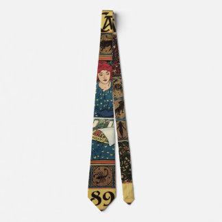 Gravata Arte Nouveau do vintage, livro da astrologia da