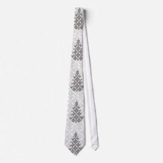 Gravata Árvore de Natal preto e branco de luxe do damasco