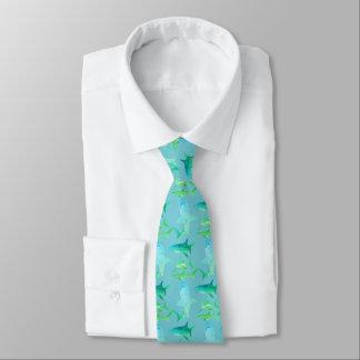 Gravata Azuis & verdes do Laço-Aqua do tubarão dos homens