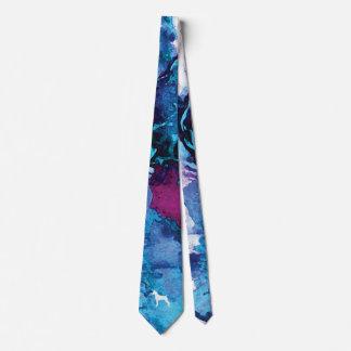 Gravata Azul colorido e roxo do laço da aguarela do cão do