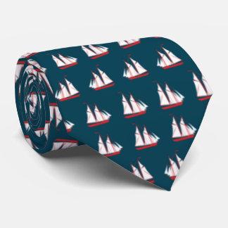 Gravata Azul com os veleiros vermelhos e brancos