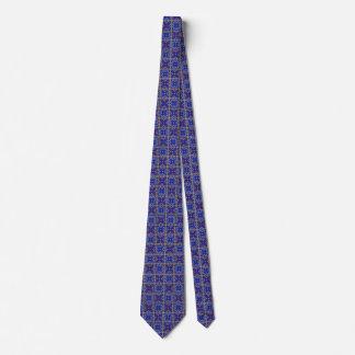 Gravata azul modelada medieval de Quatrefoil