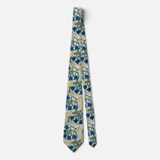 Gravata Azul que repete o teste padrão floral
