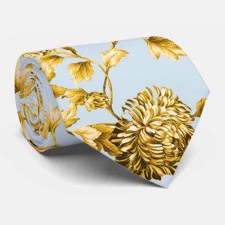 Gravata Azul Toile floral botânico moderno do ouro & de pó