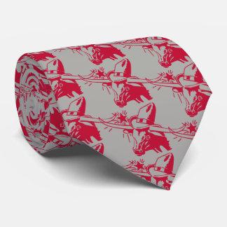 Gravata Boi marrom/vermelho de Longhorn com chapéu de