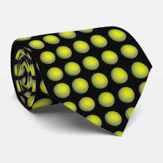 Gravata Bolas de tênis amarelas no fundo preto,