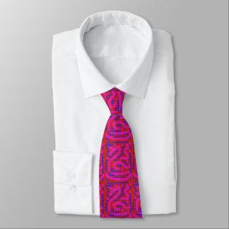 Gravata bolinhas azuis cor-de-rosa wiggly no vermelho