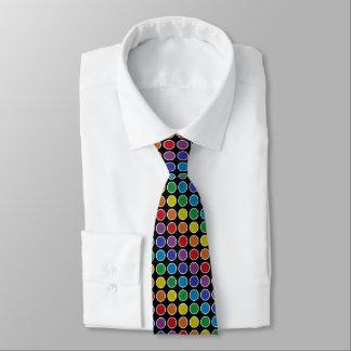 Gravata Bolinhas estáticas esboçadas branco do arco-íris