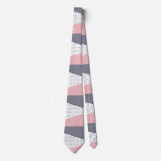 Gravata Bolinhas geométricas roxas elegantes do rosa