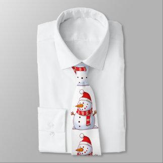 Gravata Boneco de neve bonito que veste um chapéu vermelho