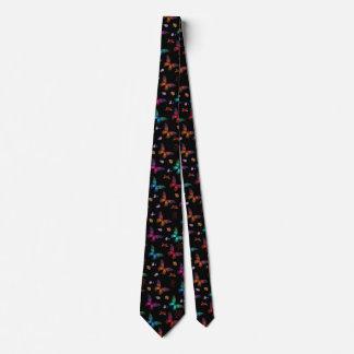 Gravata Borboletas coloridas elegantes no preto