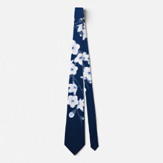 Gravata Branco azul das flores de cerejeira florais