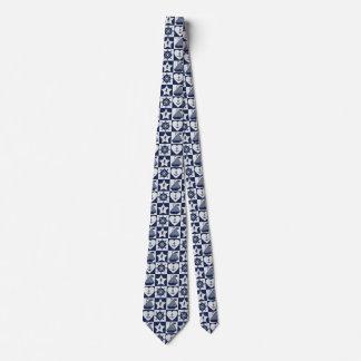 Gravata Branco náutico dos azuis marinhos checkered