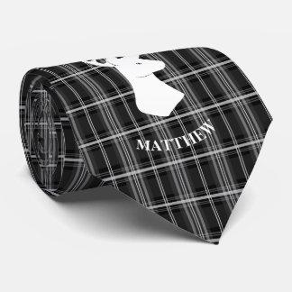 Gravata Cabeça do veado na xadrez preto e branco