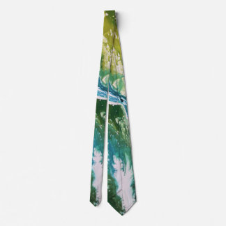 Gravata Cachoeira azul verde abstrata colorida de turquesa