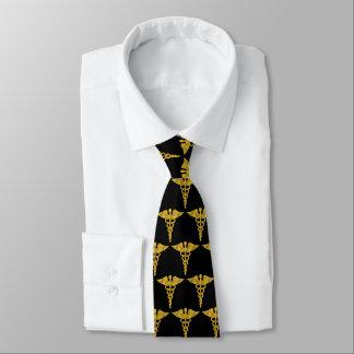 Gravata Caduceus elegante elegante simples do ouro médico