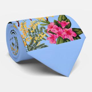 Gravata camélia, forsythia, rododendro e acácia