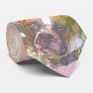 Gravata Cão do pugilista da aguarela