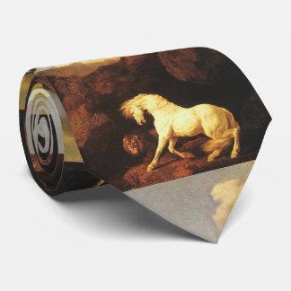 Gravata Cavalo branco amedrontado por um leão