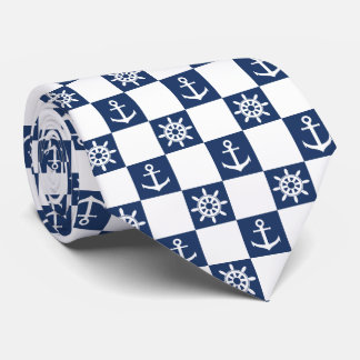 Gravata Checkered branco azul náutico