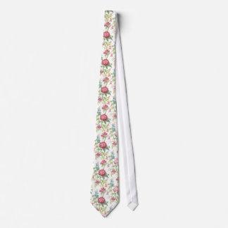 Gravata Chinese botanical pattern tie - white