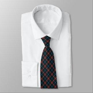 Gravata Clã Comyn - xadrez vermelha e azul do Tartan do
