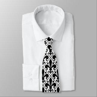 Gravata Clássico francês da flor de lis preto e branco