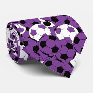 Gravata Colagem roxa, branca e preta da bola de futebol